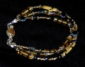 Tiger Stripe Bracelet - glass beads & silver