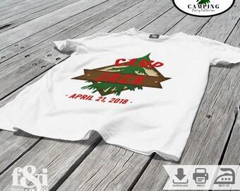 Camping Birthday Shirt | Camping Iron on Transfer | Camp Birthday Shirt | Camp Iron on Transfer | Camping Party Shirt |Printable
