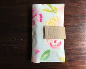 Diaper Clutch, Nappy Wallet, Watercolor Floral Clutch, Boutique Collection, Personalized, Monogram, Baby Shower Gift, Custom Baby Gift