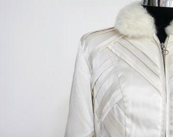 SALE / Vintage  Women ivory satin jacket, Long sleeve elegant Jacket, bride jacket/ white coat, Fur jacket/ free shipping/ 8us