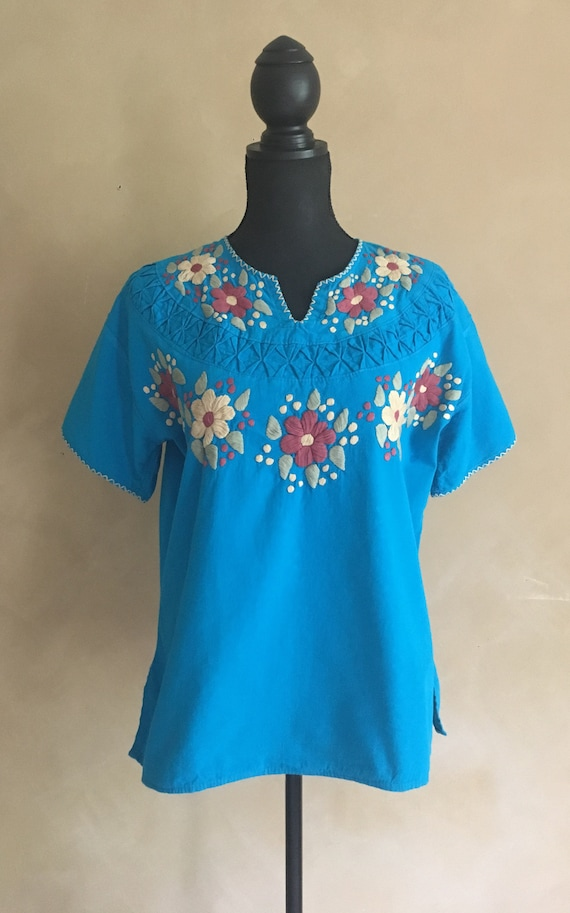 Vintage Mexican Style Hand Embroidered Blouse