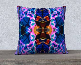Abstract Art Pillow Case, Decorative Pillow, Throw Pillow, Square Pillow, Printed Pillow, Designer Pillow, Colorful Pillow, Wild Pillow