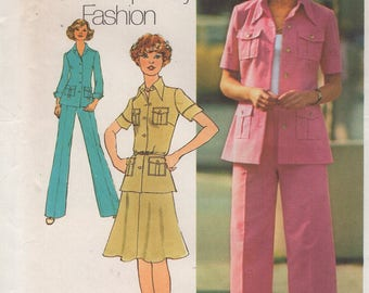 FREE US SHIP Simplicity 6843 Vintage Retro 1970s 70's Safari Pocket Pantsuit Skirt Wide Leg pants Uncut Size 3 5, 7 9 jp 10 miss Bust 32.5