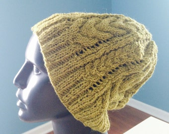 Cable and Lace slouchy hat