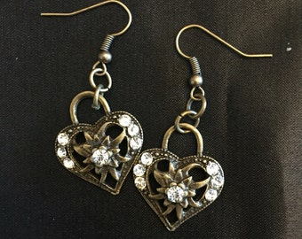 Bronze heart with flower center and crystal side dangle earrings