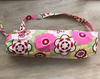 Pink Floral yoga mat bag/ pilates / gym bag