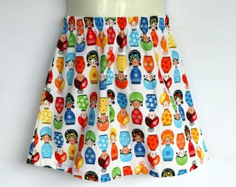 Girls Babushka Doll Skirt - sizes 2 & 4 avail - retro, 70's cotton, matryoshka