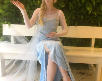 Elsa Frozen Cosplay Costume dress and cape