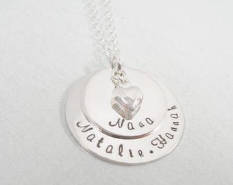 Layered Hand Stamped Necklace - Keepsake Jewelry - Unique Necklace for her