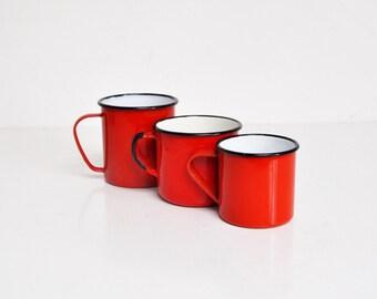 Vintage Bright Red Enamel Mug Set