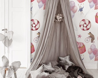 Sweet cupcakes Removable Wallpaper || Animals Balloons Sweets || Repositionable Wallpaper || Cute Kids Wallpaper #133
