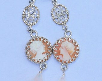 Silver earrings with natural pearl drops and hand carved shell Camee