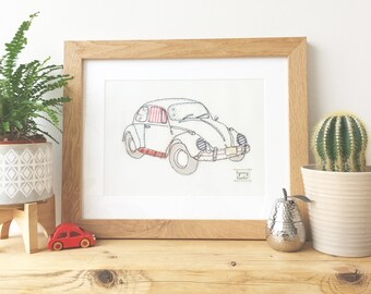 VW Beetle Bug textile framed picture