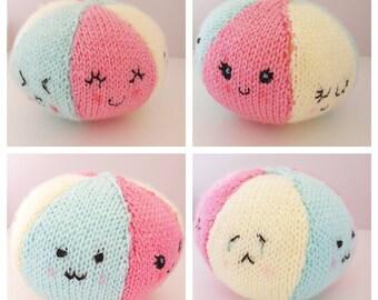 Cute Knitted Baby Rattle Toy - Kawaii Face Rainbow Ball, Baby Gift, Baby Toys, Nursery Decor!