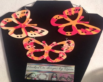FALL FIESTA - Red & Orange Two-sided Hand painted Butterfly Jewelry Set