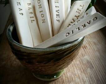 Ceramic garden marker set, vegetable, herb stakes set of four