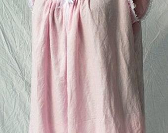 Pink Linen/Cotton blend Victorian Style Plus Size Chemise