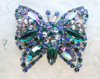 Vintage High End Butterfly Brooch blue and green layers figural AB925