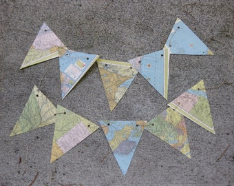 map bunting with 36 flags, 12 feet long, upcycled, recycled, repurposed travel party decoration.