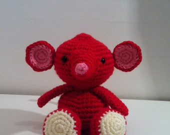 Mouse, Red Mouse, Handmade Mouse, Soft Toy mouse, Crochet Mouse, Amigurumi Mouse, mouse gift