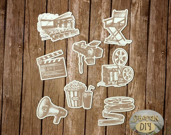 """Laser Cut Chipboard Set """" The entertainment industry. Movie. The engraving [2]"""""""