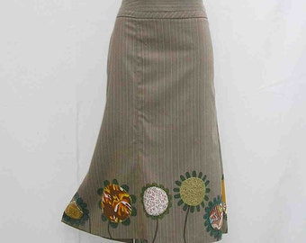 SALE! Brown pinstripe Skirt, Hand painted skirt, appliqued skirt, brown skirt, plus size skirt AU 22 uk 20 US 18, art to wear upcycled skirt