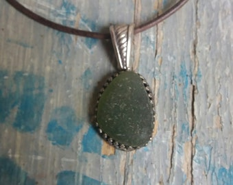 Moss Green Seaglass Sterling Silver Necklace