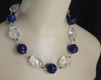 Carved Crystal Quartz with Facetted Sodalite Boules