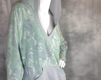 Moss green and grey pullover hoodie sweatshirt