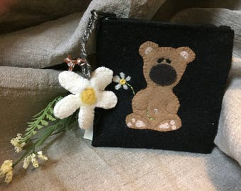 Cute wool gloomy bear with daisy and daisy zipper pull coin purse or credit card wallet.