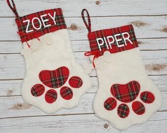 Christmas Stocking, Personalized Pet Stocking, Dog Stocking, Cat Stocking, Paw Stocking, Personalized Stocking, Pet Gifts, Furbaby Stockings