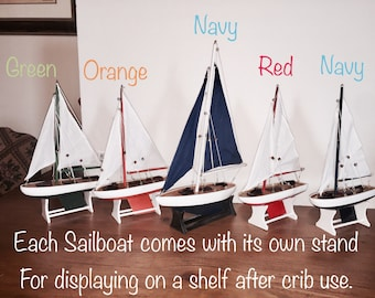Mobile; Nursery; Wooden Sailboat Nursery Mobile