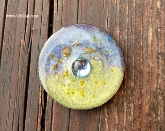 Purple Crystal Resin Round Cabochon Cab 38mm