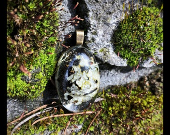 Oval pendant with lichen and moss mixture
