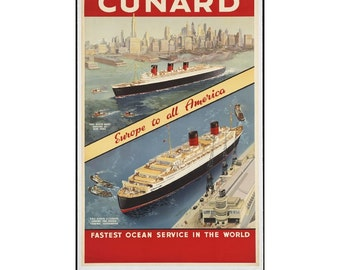 Instant Download - Vintage Travel Poster - Cunard Line Cruise Ships, RMS Queen Mary, Queen Elizabeth, New York, Manhattan, Southampton
