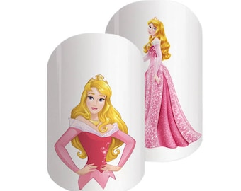 25 Aurora Disney nail transfers - illustrated nail art decals - Sleeping Beauty, Princess  - Disney nail stickers