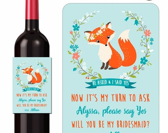 Custom Wine Labels Woodland Fox Will You Be My Bridesmaid Maid of Honor Personalized Stickers Floral Wreath