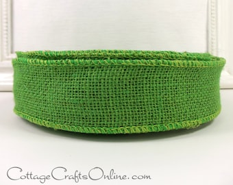 "Burlap Wired Ribbon, 1 1/2"", Lime Green  Natural Jute, THREE YARDS, Offray #9 Halloween, Christmas, Spring Wire Edged Ribbon Green Apple"