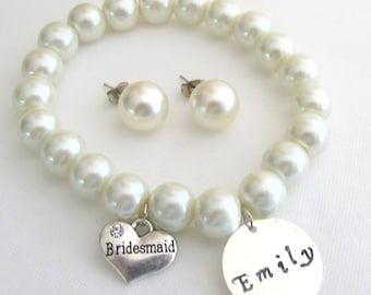 Bridesmaid Custom Name Bracelet Ivory Pearl Bracelet Stud Earrings Personalize Bridesmaid Jewelry Free Shipping In USA