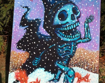 Winter Reaper with Cardinals and Red Squirrels Original Acrylic Painting by Mister Reusch