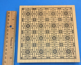 Giant Quilt/Stained Glass Background Rubber Stamp