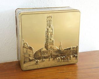 Vintage Golden Brugge Belgium View Pressed Collectible Metal Tin