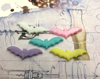 Glitter Sparkle Bats Pastel colors Resin Plastic Kawaii Decoden Kitsch Flatbacks Cabochons PC011518