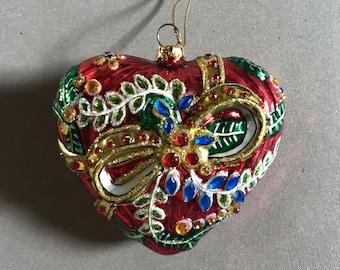 Vintage blown glass heart ornament