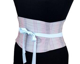 Silk Corset / Silver Pastels Pink Lavender Dupioni Silk Waist Cincher / Boned Wedding Corset Belt / Pastel Sash / Silver Belt / Raw Silk