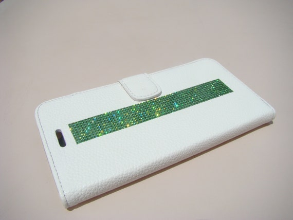 iPhone 6 Plus/ 6s Plus Green Peridot Rhinestone Crystal, White Wallet Case. Velvet/Silk Pouch bag Included, .