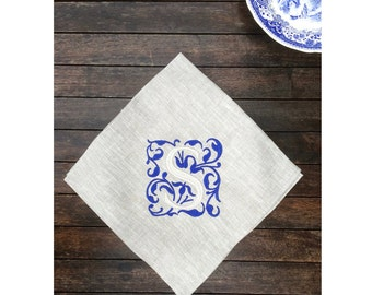 Luxury Linen Napkin Royal Blue Monogram 18 22 inch Sets,  Natural Gray Personalized Damask Embroidery Kings Wedding Table
