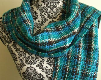 Hand Woven Scarf in Teal Brown
