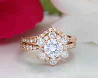 Flocon de neige diamant Halo Moissanite bague de fiançailles mariage ensemble