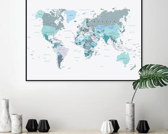 Grey world map etsy downloadable world map map world map blue green map green map gumiabroncs Image collections